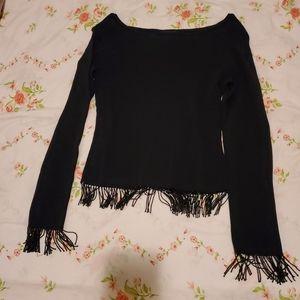 Beaded fringe black top